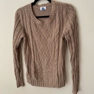 Light Brown Cable Knit Sweater